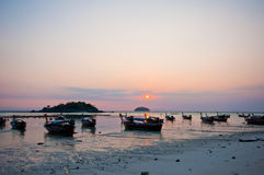 Sunrise at Lipe beach. Thailand. It's romantic Stock Photos