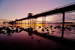 Sunrise at Llandudno pier Stock Photography