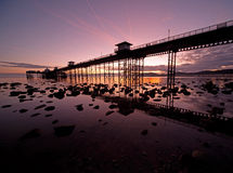 Sunrise at Llandudno pier Royalty Free Stock Images