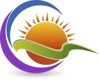 Sunrise logo. Illustration art of a sunrise logo with background stock illustration