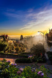 Sunrise on Lombard street on Russian hill, San Francisco, Califo Royalty Free Stock Photo