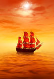Sunrise. Lonely red sailing ship. 3d  graphics Stock Photo