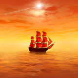 Sunrise. Lonely sailing ship Royalty Free Stock Photography