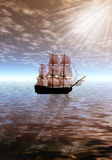 Sunrise. Lonely sailing ship Royalty Free Stock Photos