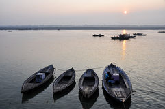 A sunrise looking over the Ganges river (India) Royalty Free Stock Photography