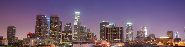 Sunrise Los Angeles California Downtown City Skyline Stock Images