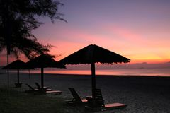 Sunrise lounge chairs Royalty Free Stock Images