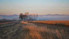 Sunrise in Loveland, Colorado. Looking West toward Rocky Mountains stock photography