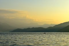 The sunrise of lugu lake Stock Images