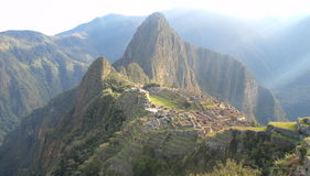 Sunrise at Macchu Picchu Royalty Free Stock Photos