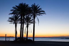 Sunrise on the Malaga beach Stock Photo