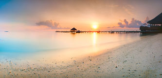 Sunrise Maldives sea beach horizontal background royalty free stock photo
