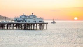 Sunrise at the Malibu Pier. Sunrise in Malibu Pier California Stock Photo