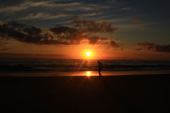 Sunrise and a man Royalty Free Stock Photos
