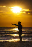 Sunrise Man Profile Silhouette Pointing Sunset stock photography