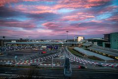 Manchester Airport. Sunrise in Manchester international Airport, Ringway, Manchester, England royalty free stock photos