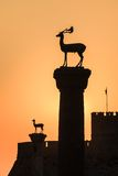 Sunrise in Mandraki harbor. Rhodes, Greece Royalty Free Stock Photo