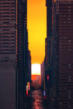 Sunrise Manhattanhenge Stock Photo