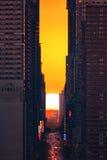 Sunrise Manhattanhenge Stock Photo