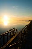 Sunrise on the Mar Menor. Sunrise on a jetty at La Manga del Mar Menor, Spain Royalty Free Stock Photos