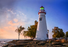 Sunrise At The Marblehead Lighthouse Royalty Free Stock Photography
