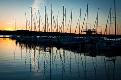 Sunrise at the Marina harbour. In summer Stock Photos