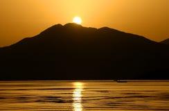 Sunrise in Marmaris. Reflecting sunrise in the gulf of Marmaris Stock Image