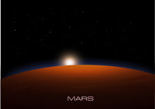 Sunrise on Mars with stars. Vector illustration Royalty Free Stock Photography