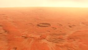 Sunrise at the Martian base and zoom out to Mars planet view. 4K 3d animation.