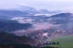 Sunrise from Mary`s prospects. Sunrise in the Czech Switzerland, Czech Republic Stock Image