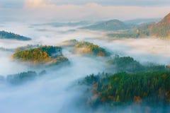Sunrise from Mary`s prospects. Sunrise in the Czech Switzerland, Czech Republic Royalty Free Stock Photo