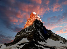 Sunrise on the Matterhorn. Swiss alps Stock Photos