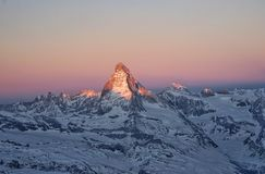 Sunrise in Matterhorn stock images