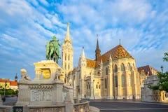 Sunrise at the Matthias Church in Budapest city, Hungary stock photo