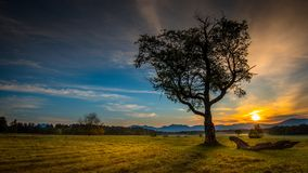 Sunrise in the meadow at Heaven Hill Trails, Lake Placid, New York, the Adirondacks Royalty Free Stock Images