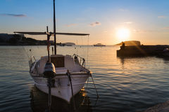 Sunrise on Meditarranean Sea landscape in Summer with boat at an Stock Photos