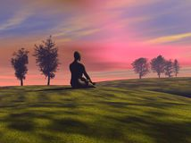 Sunrise meditation Royalty Free Stock Photo
