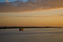Sunrise on the Mekong river Stock Image