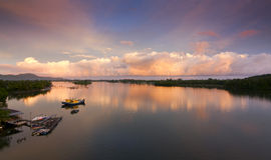 Sunrise at Mengkabong river, Sabah, Malaysia Stock Images