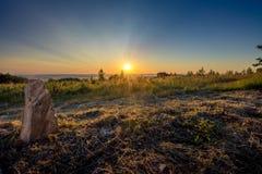 Sunrise at the menhir. royalty free stock image