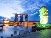 Sunrise at Merlion with Marina Building View Royalty Free Stock Photography