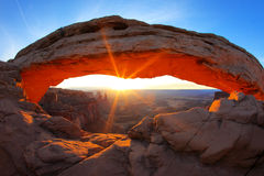 Sunrise at Mesa Arch Stock Photo