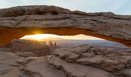 Sunrise at Mesa Arch in Canyonlands National Park. Mesa Arch in Canyonlands National Park Stock Image