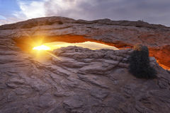Sunrise at Mesa Arch in Canyonlands National Park Stock Images