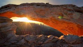 Mesa Arch at sunrise in Canyonlands National Park, Utah. Sunrise at Mesa Arch in Canyonlands National Park near Moab, Utah, USA Royalty Free Stock Photo