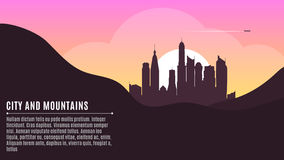 Sunrise in the metropolis. Morning city. Big skyscrapers. A place for your project. Hilly dark mountains. Purple Sunrise. Vector illustration Stock Image