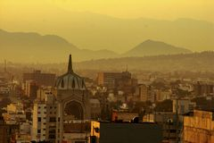 Sunrise at mexico city with view to mountains royalty free stock photos