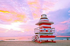Sunrise in Miami Beach Florida, with a colorful lifeguard hous Royalty Free Stock Images
