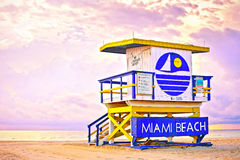 Sunrise in Miami Beach Florida, with a colorful lifeguard house Royalty Free Stock Photography