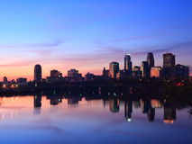 Sunrise in Minneapolis. With reflection in Mississippi Stock Photos